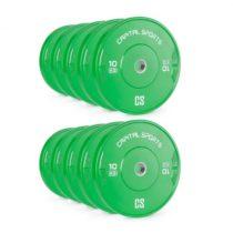 Capital Sports Nipton Bumper Plates, závažia k činkám, 5 párov, 10 kg, tvrdá guma, zelené
