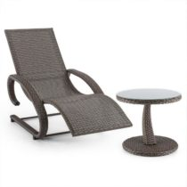 Blumfeldt Daybreak, set záhradného nábytku, hojdacie ležadlo a stôl, optika pleteného koša, antracit