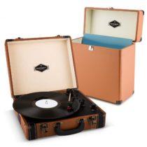 Auna Jerry Lee Record Collector Set brown | retro gramofón | kufrík na gramofónové platne