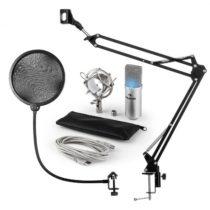 Auna MIC-900S-LED, USB mikrofónová sada V4, strieborná, kondenzátorový mikrofón, pop filter, mikrofó...