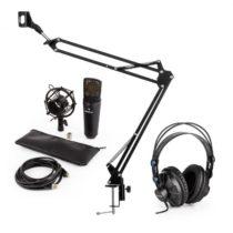 Auna MIC-920B USB mikrofónová sada V3 štúdiové slúchadlá, kondenzátorový mikrofón, mikrofónové ramen...