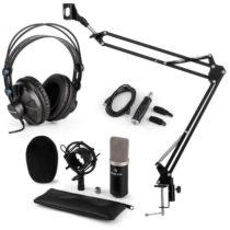 Auna CM003 mikrofónová sada V3, kondenzátorový mikrofón, USB-konvertor, slúchadlá, čierna farba