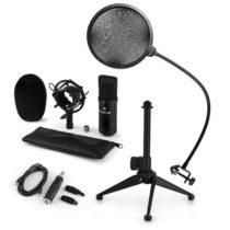 Auna CM001B mikrofónová sada V2, kondenzátorový mikrofón, USB-adaptér, mikrofónový stojan, čierna fa...