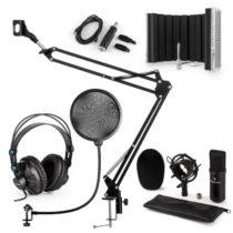 Auna CM001B mikrofónová sada V5 slúchadlá, kondenzátorový mikrofón, panel, mikrofónové rameno, pop f...