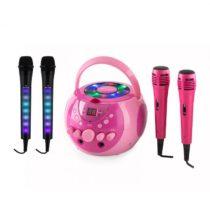 Auna SingSing ružová + Dazzl Mic Set karaoke zariadenie, mikrofón, LED osvetlenie