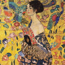 Reprodukcia obrazu Gustav Klimt Lady With Fan, 70 × 70 cm