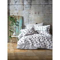 Obliečky s plachtou z ranforce bavlny na dvojlôžko Fleur, 160 x 220 cm