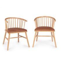 Besoa Nyssa, pár jedálenských stoličiek, bukové drevo, vankúš sedadla zo syntetickej kože, hnedý