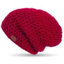 Červená ručne háčkovaná čiapka DO...