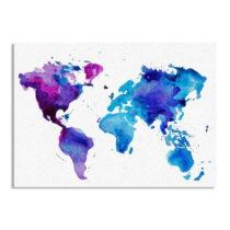 Obraz na plátne Really Nice Things Watercolor Blue Worldmap, 50×&#xA...