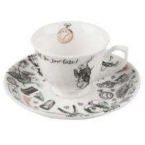 Porcelánový hrnček s tanierikom Creative Tops Alice in Wonderland, 100 m...