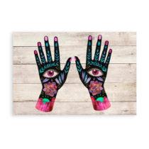 Nástenná dekorácia z borovicového dreva Madre Selva Hand Eyes, 6...