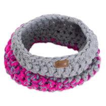 Sivo-ružový ručne háčkovaný kruhov&#xFD...