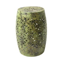 Zelená kovová ručne maľovaná stolička RGE N...