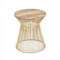 Odkladací stolík v zlatej farbe s drevenou doskou WOOX LIVING Chloe, ⌀ ...