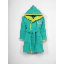 Zeleno-žltý bavlnený župan s kapucňou pre deti, 9-12...