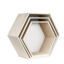 Sada 3 bielych nástenných poličiek Really Nice Things Hexagon