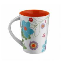 Červený porcelánový hrnček Flowers, 400 ml
