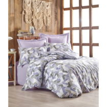 Obliečky s plachtou z ranforce bavlny na dvojlôžko Well Lilac, 200 x 22...