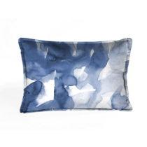 Modro-biela dekoratívna obliečka na vankúš Velvet Atelier Wate...