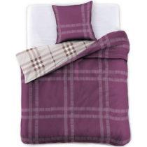 Fialové obojstranné bavlnené obliečky na dvojlô&#x...