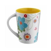 Žltý porcelánový hrnček Flowers, 400 ml