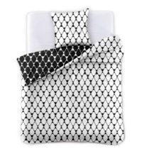 Čierno-biele obojstranné obliečky na dvojlôžko z mik...