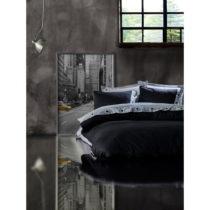 Obliečky s plachtou z ranforce bavlny na dvojlôžko Grey Black, 200 x 22...