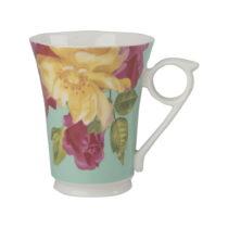 Zelený porcelánový hrnček z keramiky s kvetinovým mot&...