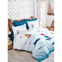 Obliečky s plachtou z ranforce bavlny na dvojlôžko Neta Blue, 200 x 220...