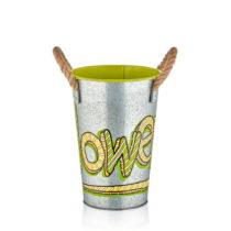 Kovová váza so zeleným detailom The Mia Fower, výška 3...