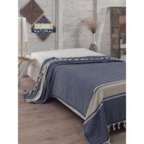 Tmavomodrý bavlnený pléd cez posteľ Elmas Dark Blue, 200 x 240 ...