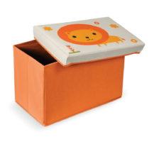 Oranžová podnožka s úložným priestorom Domo...