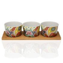 Sada 3 porcelánových misiek a bambusového podnosu Versa Giardino