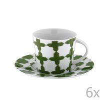 Sada 6 porcelánových hrnčekov na čaj s tanierikmi Drosoula