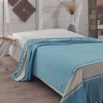 Tyrkysový bavlnený pléd cez posteľ Elmas Turquoise, 200 x 240 c...