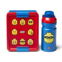 Set červeno-modrého desiatového boxu a fľaše na piti...
