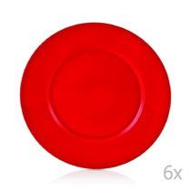 Sada 6 červených porcelánových tanierov Efrasia