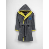 Detský sivý bavlnený župan s kapucňou, 3-6 let