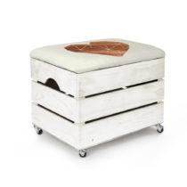 Biely úložný box so sedadlom Really Nice Things Heart, 50&...