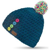 Modrá ručne háčkovaná čiapka s gomb&#xE...