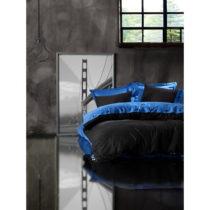 Obliečky s plachtou z ranforce bavlny na dvojlôžko Blue Black, 200 x 22...