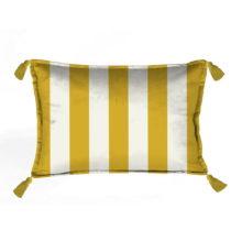 Žlto-biela dekoratívna obliečka na vankúš Velvet Ate...