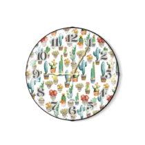 Biele nástenné hodiny s kaktusmi The Mia
