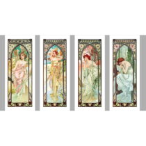Sada štyroch reprodukcií obrazov Alfons Mucha Times of The Day, 40x100 cm