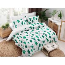 Obliečky s plachtou s prímesou bavlny na dvojlôžko Kaktus Gree...