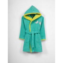 Detský zelený bavlnený župan s kapucňou, 6-9 let